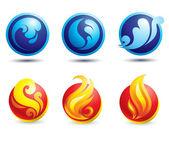 Set of hot natural web icons — Stock Vector