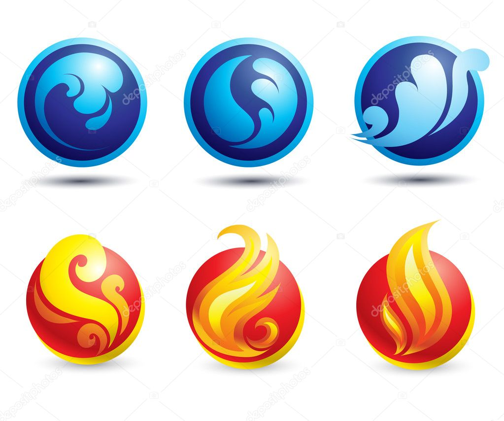 Set of hot fire and water web icons  Stock Vector #1582594