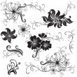 Set of black floral design elements - Stock Vector