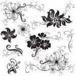 conjunto de elementos de diseño floral negro — Stok Vektör