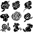 Set of black rose flowers - Stock Vector