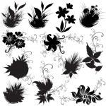 conjunto de elementos de design floral — Vetor de Stock  #1598406