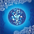 Stock Vector: Background with blue disco-ball
