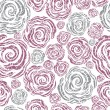 Seamless pink grunge rose pattern — Stock Vector