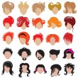 Stock Vector: Vector set of trendy hair styling icons