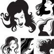 Stockvector : Vector set of beautiful woman
