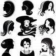 Stock Vector: Vector set of beautiful woman