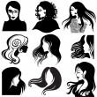 Stockvector : Vector set of closeup beautiful woman
