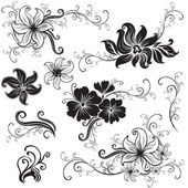 Set of black floral design elements — ストックベクタ
