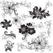 Set of black floral design elements — Stock Vector