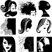 Vector set of beautiful woman — Stock Vector