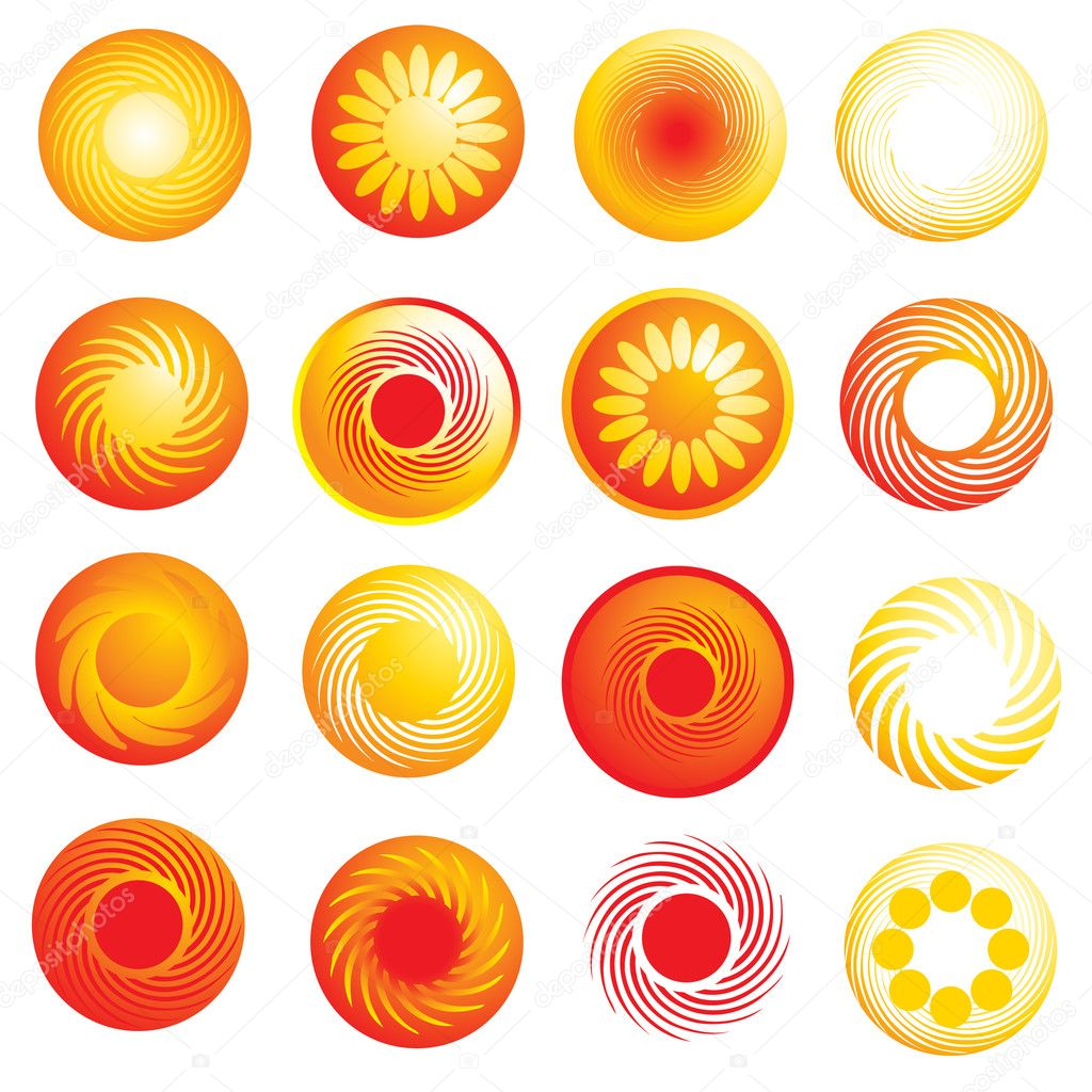 Vector set of abstract glossy sun icons  Stock Vector #1598470