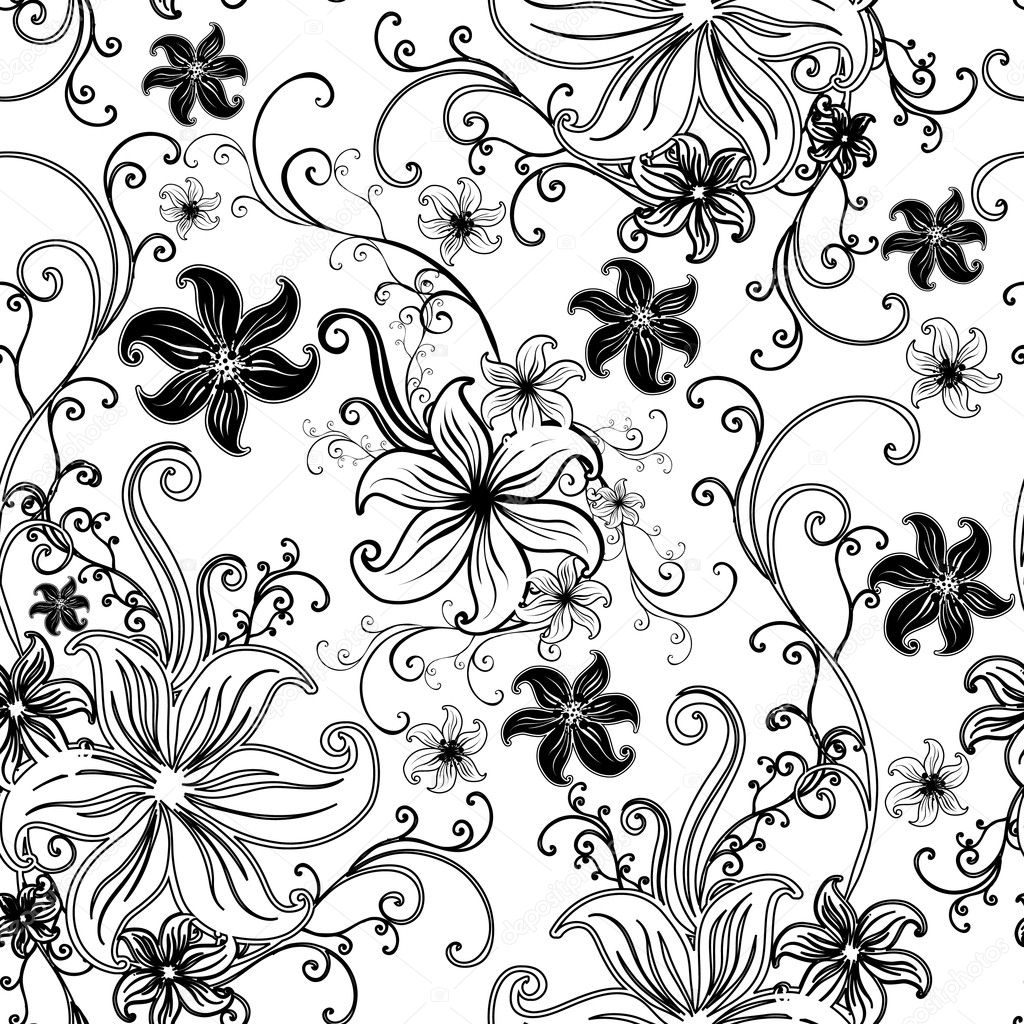 Vector Seamless floral twirled pattern  (From my big Seamless collection) — ベクター素材ストック #1598750