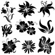 Stock Vector: Set of flower design elements
