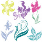 conjunto de elementos de design floral — Vetor de Stock  #1601195