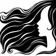 Closeup decorative vintage woman — Stock Vector