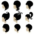 Stock Vector: Vector set of hair styling for woman