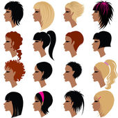 Vector set of hair styling for woman — Stock Vector