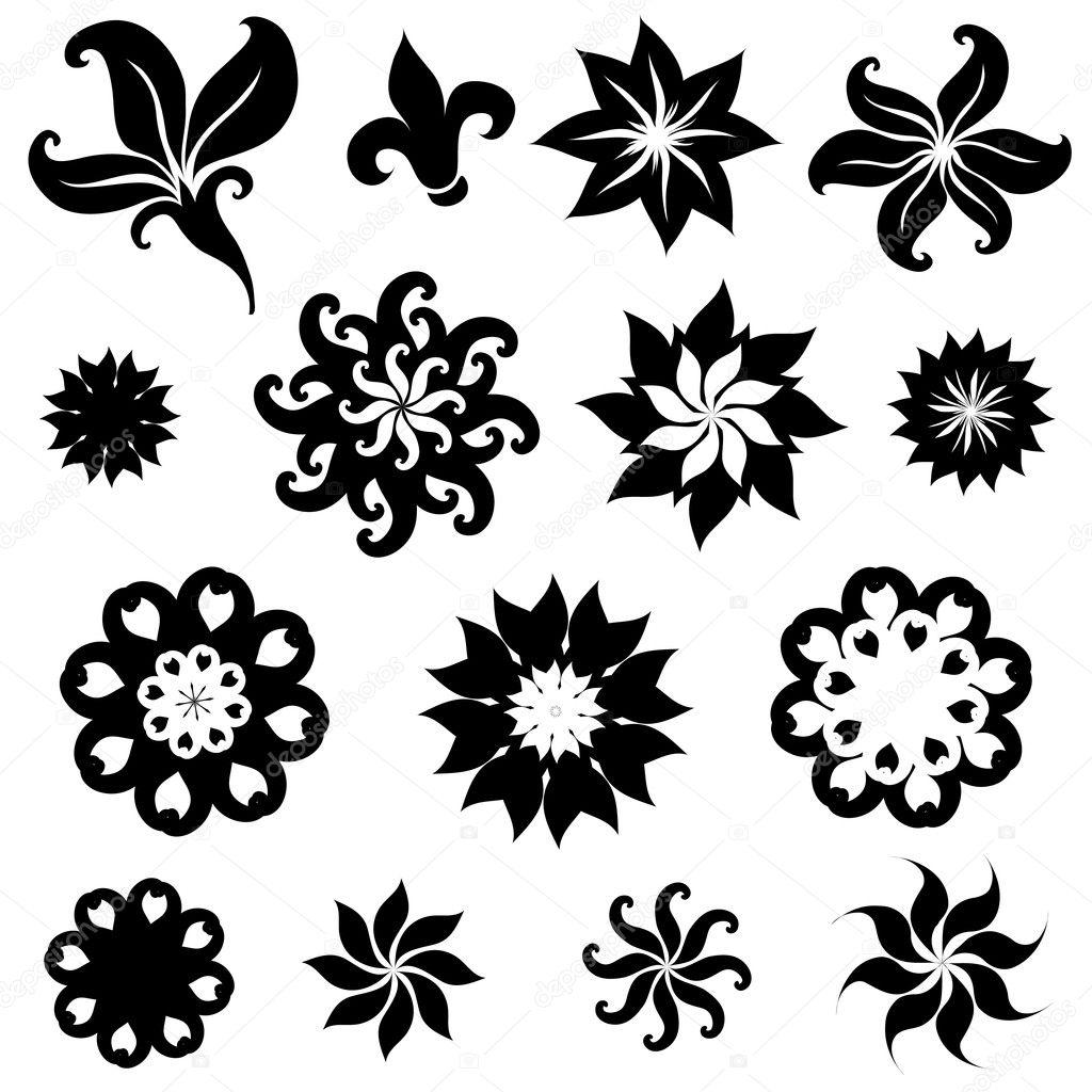 Set Of Black Flower Design Elements Stock Vector: Stock Vector © Kynata #1600613