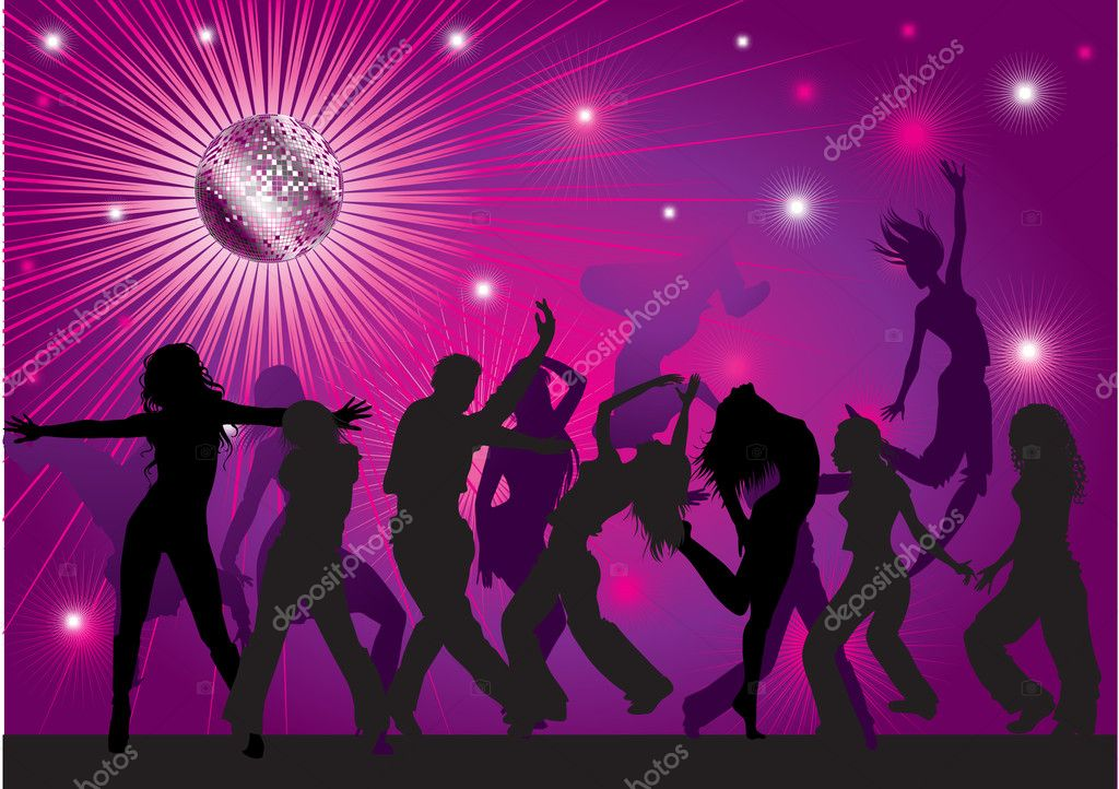 Vector background with dancing in night club, disco-ball and glitters — ベクター素材ストック #1602087
