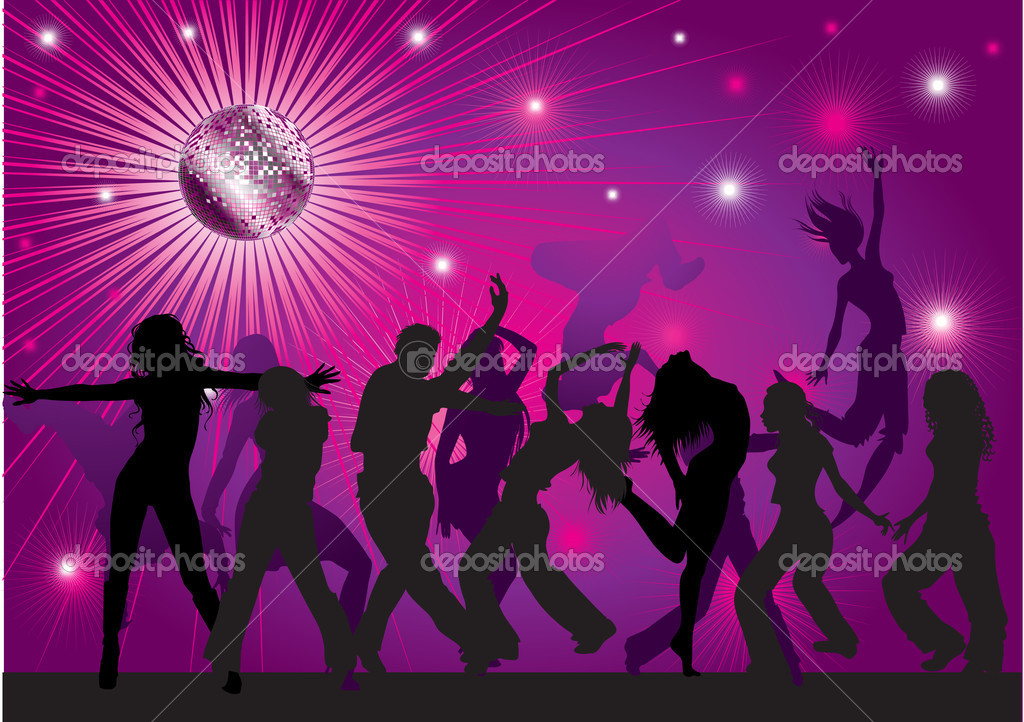 Vector background with dancing in night club, disco-ball and glitters — Stock Vector #1602087