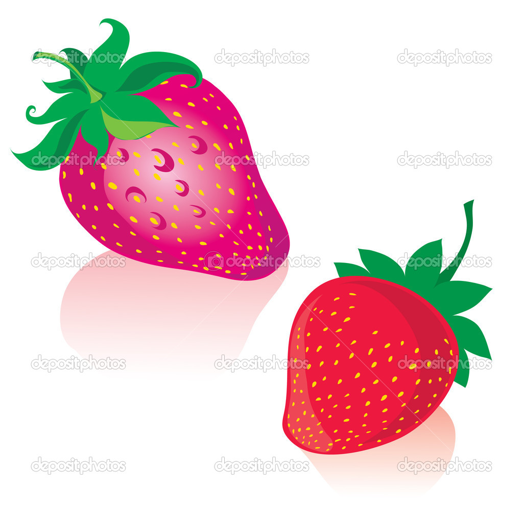 Two Strawberries isolated on white — Stock Vector #1602642