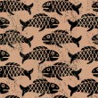 Grunge pattern with fish - Stock Vector