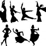 siluetas danzantes — Vector de stock