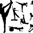 Fitness woman silhouettes — Stock Vector