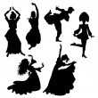 Stock Vector: Dancers silhouettes