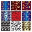 Stock vektor: Set of seamless chinese pattern