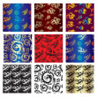Royalty-Free Stock Vektorfiler: Set of seamless chinese pattern