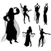Belly dancers silhouettes — Stock Vector