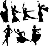 Dancers silhouettes — Stock Vector