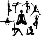 Yoga asana silhouettes — Stock Vector
