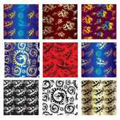 Set of seamless chinese pattern — Stock Vector