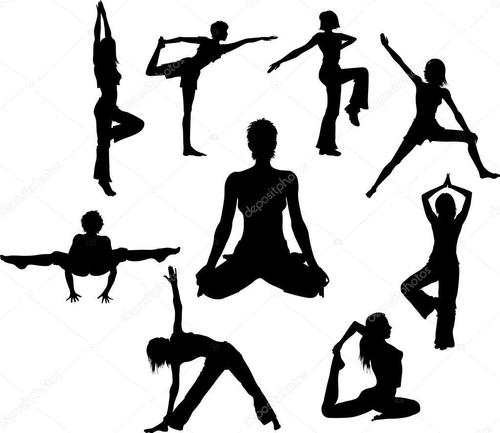 Set of vector Yoga asana