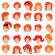Stock Vector: Red hair styling 3