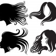 Big set of black silhouettes of woman - Image vectorielle