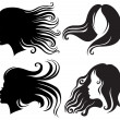 Big set of black silhouettes of woman - Stock Vector