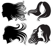 Big set of black silhouettes of woman — Stock Vector
