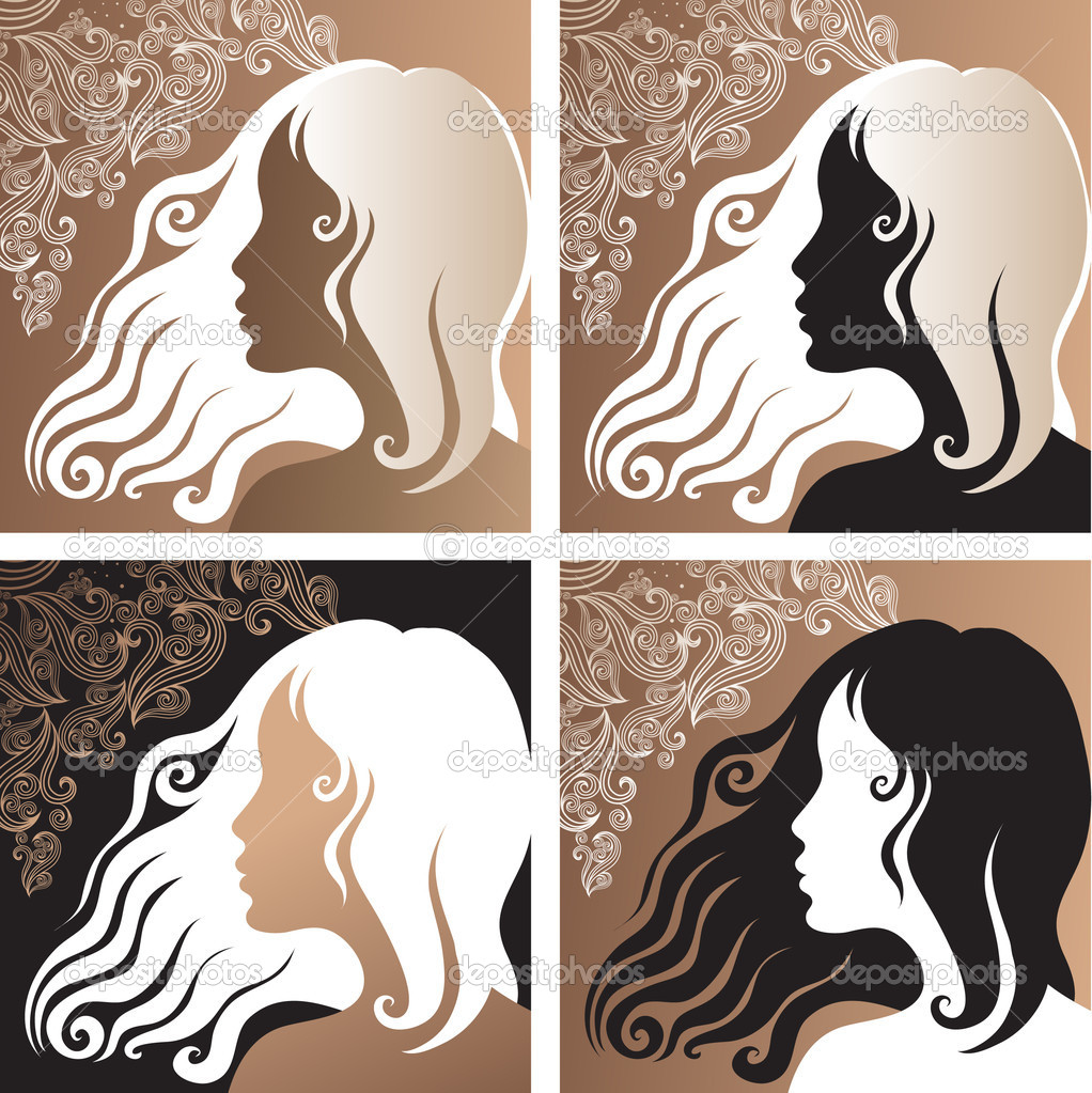 Four closeup ornate portraits of a beautiful vintage girl  Stock Vector #1630077