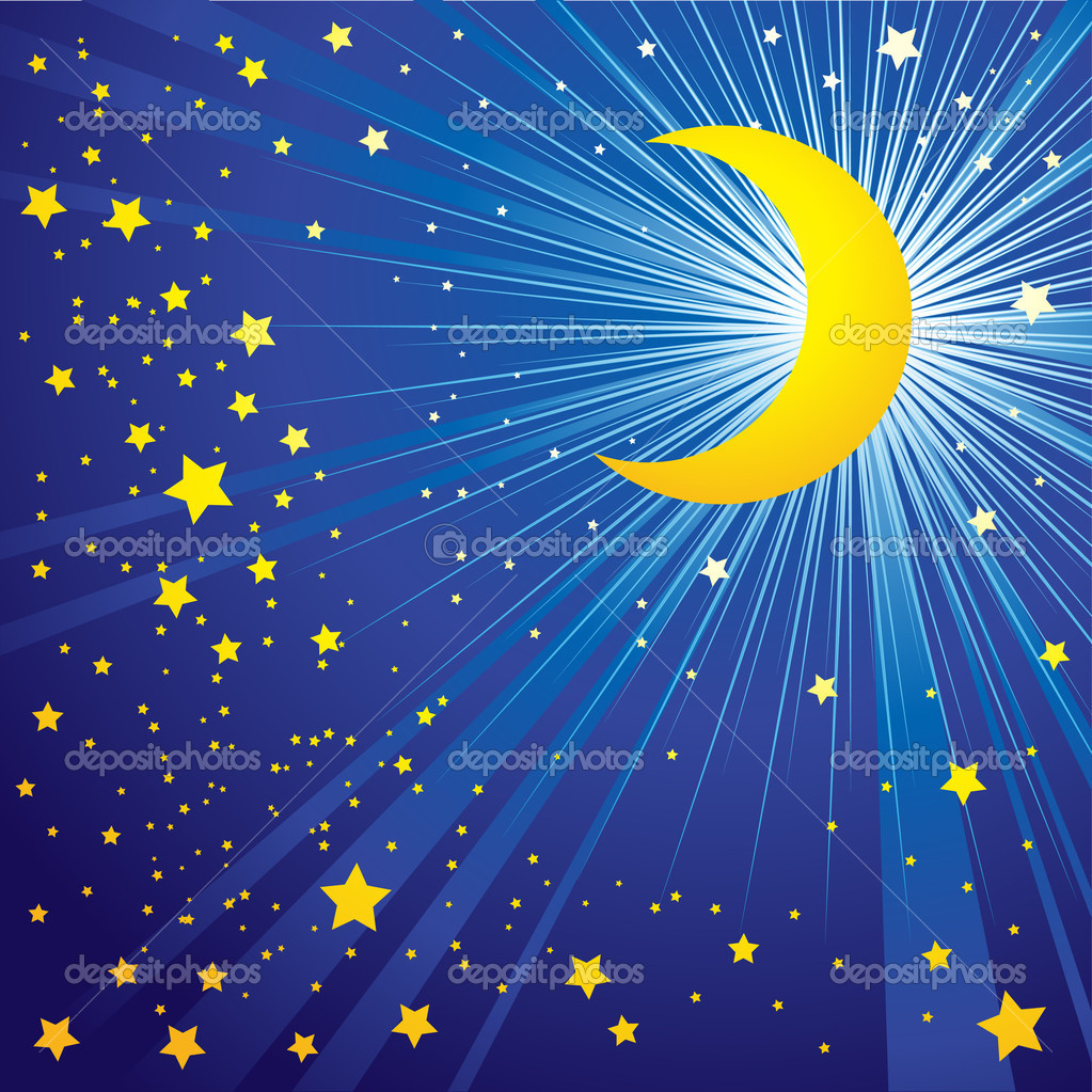 Background with moon on the night sky — Stock Vector #1633006