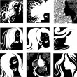 Royalty-Free Stock Vector Image: Vector set of closeup  portraits