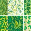 Set of Seamless green floral pattern — Stock Vector #1709778