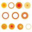 Set of sun symbols — Stock Vector