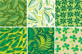 Set of Seamless green floral pattern — Stock Vector