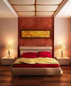 Dormitorio de estilo moderno interior 3d — Foto de Stock