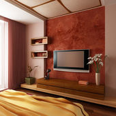 Modern style bedroom interior 3d — Stock Photo