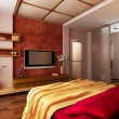 Modern style bedroom interior — Stockfoto